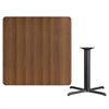 42'' Square Walnut Laminate Table Top with 33'' x 33'' Table Height Base