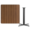 Flash Furniture 42'' Square Walnut Laminate Table Top with 33'' x 33'' Bar Height Table Base