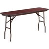 18'' x 60'' Rectangular Mahogany Melamine Laminate Folding Training Table