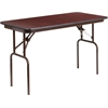 24'' x 48'' Rectangular Mahogany Melamine Laminate Folding Banquet Table