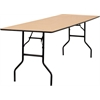30'' x 96'' Rectangular Wood Folding Banquet Table with Clear Coated Finished Top