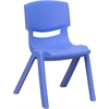 Flash Furniture Blue Plastic Stackable School Chair with 12'' Seat Height