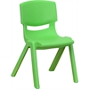 Flash Furniture Green Plastic Stackable School Chair with 12'' Seat Height