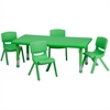 24''W x 48''L Adjustable Rectangular Green Plastic Activity Table Set with 4 School Stack Chairs