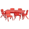 Flash Furniture 24''W x 48''L Adjustable Rectangular Red Plastic Activity Table Set with 6 School Stack Chairs