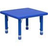 24'' Square Height Adjustable Blue Plastic Activity Table
