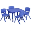 Flash Furniture 24'' Square Adjustable Blue Plastic Activity Table Set with 4 School Stack Chairs
