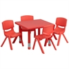 24'' Square Adjustable Red Plastic Activity Table Set with 4 School Stack Chairs