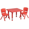 Flash Furniture 24'' Square Adjustable Red Plastic Activity Table Set with 2 School Stack Chairs