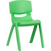 Flash Furniture Green Plastic Stackable School Chair with 13.25'' Seat Height