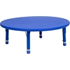 Flash Furniture 45'' Round Height Adjustable Blue Plastic Activity Table
