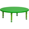 Flash Furniture 45'' Round Height Adjustable Green Plastic Activity Table