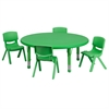 45'' Round Adjustable Green Plastic Activity Table Set with 4 School Stack Chairs