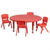 45'' Round Red Plastic Height Adjustable Activity Table Set with 4 Chairs