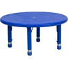 Flash Furniture 33'' Round Height Adjustable Blue Plastic Activity Table