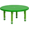 33'' Round Green Plastic Height Adjustable Activity Table