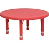 Flash Furniture 33'' Round Height Adjustable Red Plastic Activity Table