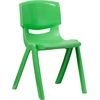 Flash Furniture Green Plastic Stackable School Chair with 18'' Seat Height