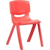 Flash Furniture Red Plastic Stackable School Chair with 18'' Seat Height