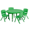 33'' Round Adjustable Green Plastic Activity Table Set with 4 School Stack Chairs
