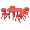 Flash Furniture 33'' Round Adjustable Red Plastic Activity Table Set with 4 School Stack Chairs
