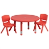 33'' Round Adjustable Red Plastic Activity Table Set with 2 School Stack Chairs