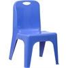 Flash Furniture Blue Plastic Stackable School Chair with Carrying Handle and 11'' Seat Height