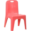 Red Plastic Stackable School Chair with Carrying Handle and 11'' Seat Height