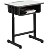 Student Desk with Grey Top and Adjustable Height Black Pedestal Frame