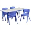 23.625''W x 47.25''L Adjustable Rectangular Blue Plastic Activity Table Set with 4 School Stack Chairs