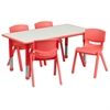 Flash Furniture 23.625''W x 47.25''L Adjustable Rectangular Red Plastic Activity Table Set with 4 School Stack Chairs