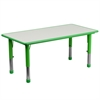 23.625''W x 47.25''L Height Adjustable Rectangular Green Plastic Activity Table with Grey Top