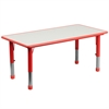 23.625''W x 47.25''L Height Adjustable Rectangular Red Plastic Activity Table with Grey Top