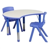 Flash Furniture 25.125''W x 35.5''L Height Adjustable Cutout Circle Blue Plastic Activity Table Set with 2 School Stack Chairs