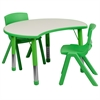 25.125''W x 35.5''L Height Adjustable Cutout Circle Green Plastic Activity Table Set with 2 School Stack Chairs