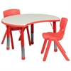25.125''W x 35.5''L Height Adjustable Cutout Circle Red Plastic Activity Table Set with 2 School Stack Chairs