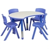 Flash Furniture 25.125''W x 35.5''L Height Adjustable Cutout Circle Blue Plastic Activity Table Set with 4 School Stack Chairs
