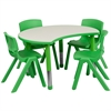 Flash Furniture 25.125''W x 35.5''L Height Adjustable Cutout Circle Green Plastic Activity Table Set with 4 School Stack Chairs