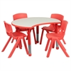 25.125''W x 35.5''L Height Adjustable Cutout Circle Red Plastic Activity Table Set with 4 School Stack Chairs