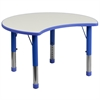 Flash Furniture 25.125''W x 35.5''L Height Adjustable Cutout Circle Blue Plastic Activity Table with Grey Top