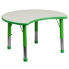 Flash Furniture 25.125''W x 35.5''L Height Adjustable Cutout Circle Green Plastic Activity Table with Grey Top
