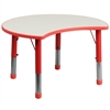 25.125''W x 35.5''L Height Adjustable Cutout Circle Red Plastic Activity Table with Grey Top