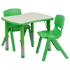 21.875''W x 26.625''L Adjustable Rectangular Green Plastic Activity Table Set with 2 School Stack Chairs