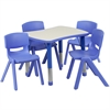 21.875''W x 26.625''L Adjustable Rectangular Blue Plastic Activity Table Set with 4 School Stack Chairs