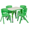 21.875''W x 26.625''L Adjustable Rectangular Green Plastic Activity Table Set with 4 School Stack Chairs