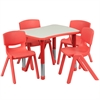 21.875''W x 26.625''L Adjustable Rectangular Red Plastic Activity Table Set with 4 School Stack Chairs