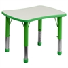 Flash Furniture 21.875''W x 26.625''L Height Adjustable Rectangular Green Plastic Activity Table with Grey Top