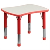 Flash Furniture 21.875''W x 26.625''L Height Adjustable Rectangular Red Plastic Activity Table with Grey Top