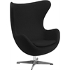 Black Wool Fabric Egg Chair with Tilt-Lock Mechanism