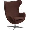 Brown Wool Fabric Egg Chair with Tilt-Lock Mechanism